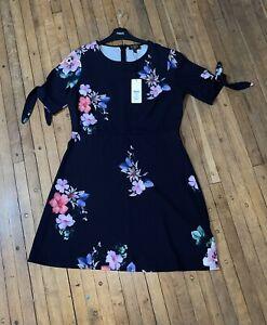 Bnwt Lipsy Black Floral Dress Tie Sleeve Size 16 Rrp £40