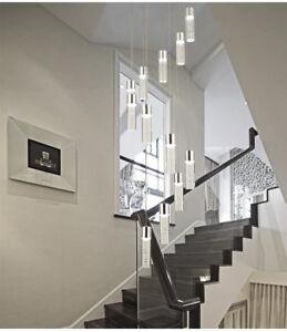 H200cm Modern LED Bubble Crystal pendant Lamp Villa Stair spiral ceiling Light