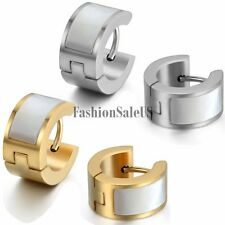 Men's Unique Wide Stainless Steel Inlay Artificial Shells Huggie Hoop Earrings