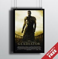GLADIATOR 2000 MOVIE POSTER A3 / A4 * Classic Movies Action Drama Film Print