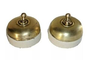 2 Pc. VINTAGE ELECTRIC SWITCH BRASS & CERAMIC VITREOUS COLLECTIBLE & DECOR
