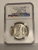 2011-D United States Army Modern Commemorative Half Dollar 50C MS 69 NGC