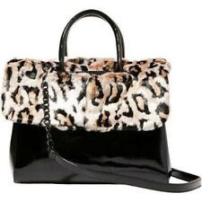 Betsey Johnson Kitsch Strip Tease Leopard Fur Crossbody Bag Satchel Purse