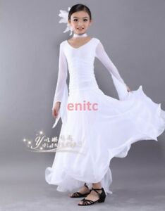 Chic Kid Children Latin Salsa Ballroom Dance Dress Girls Waltz Tango Dancing xie