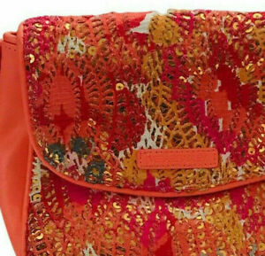 Vera Bradley Peach / Pink Leather & Lace Crossbody Bag with Gold Sequin Flap