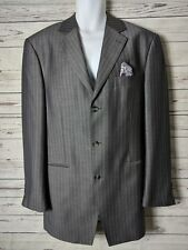 Steve Harvey Superior V 42L Gray Purple Stripe Herringbone Sport Coat Blazer