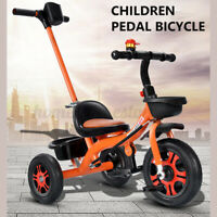Baby Kids Toddler Tricycle Steel Stroller with Push Steer Handle Foldable Pedal