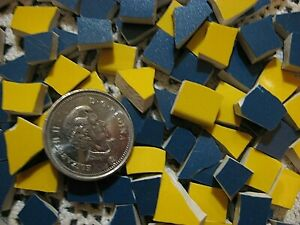 300 Yellow And Blue Duo Mini Broken Mosaic China Plate Tiles