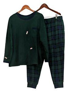Cuddl Duds Women's Petite Pajama Set Sz 1XP Fleecewear Stretch Green A381826