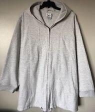 All American Comfort Plus Size 6X Gray Fleece Hooded Zip Front Jacket New