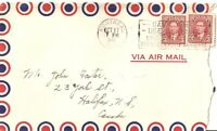 1941 Postal Cover AIRMAIL Montreal to Halifax Stamps & Cancel Canada