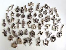 50 Breloques _ LOT MIX DIVERS arg. de 11 à 29 mm _ Perles charms création bijoux