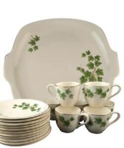 1950's Paden City Pottery Ivy Pattern 19 Piece Set Espresso Demi Mugs Saucers