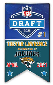 JACKSONVILLE JAGUARS PIN 2021 NFL DRAFT #1 PICK TREVOR LAWRENCE BANNER STYLE