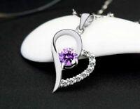 925 Silber Herz Anhänger mit Halskette Lila Liebe Herzkette Geschenk Schmuck