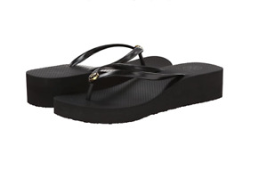 Tory Burch NEW Black Wedge Thong Flat Flip Flop Gold Tone Logo $78 Size US 8