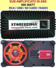 SUB WOOFER AMPLIFICATO 500 WATT ATTIVO AUX USB RADIO 12V220V SUBWOOFER 500WATT