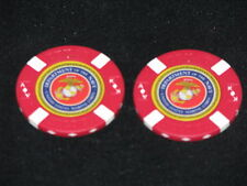 USMC Lot of 2 Red Poker Chips Golf Ball Marker Card Guard Marine Corps Navy Corp