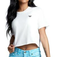 True Religion Women's Buddha Back Crop Tee T-Shirt in White