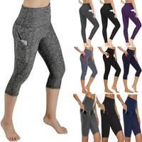 Women High Waist Capri Yoga Pants With Pocket Fitness Running Gym Sport Leggings