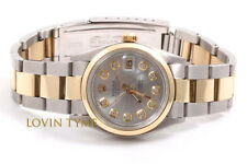 Rolex 31mm 2tone Midsize Datejust - Silver Diamond Dial - Oyster Band