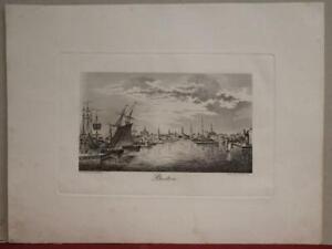 BOSTON MASSACHUSETTS UNITED STATES 1830 DWORZACK ANTIQUE COPPER ENGRAVED VIEW