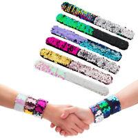 6PCS Mermaid Bracelet Reversible Sequins Slap Wristband with soft Velvet Lining