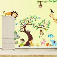 Baum Elefant Baby Ast  Löwe Affe Vogel Nashorn Aufkleber  Wandtattoo Kinderzimme