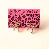 New Betsey Johnson Rhinestone Bow Stud Earrings Gift Fashion Women Party Jewelry