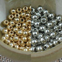 100x Round SPACER BEADS PLATED SILVER Crafts - 3.0MM B1E6