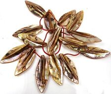 40-50mm Natural Bronze Mother of Pearl Leaf Pendant Beads 16""