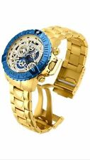 InvictA 18237 SUBAQUA 500 M Chronograph Yellow GOLD SWISS Skeleton blue NEW