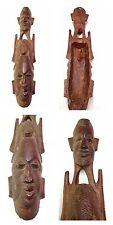Antique Figurine Afrique Chiffre en Bois Deux Visages Africain Bois Sculpture