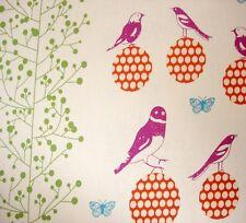 Japanese Echino Retro Vintage Birds On Balls Linen Fabric FQ 46X65CM