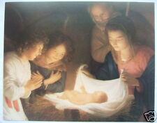 "Catholic Print Picture Nativity Christmas scene - 11x14""  ready to frame"
