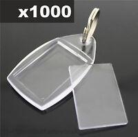 1000x Clear Acrylic Plastic BLANK PHOTO KEYRINGS 24 x 35 mm Insert