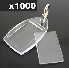1000x Clear Acrylic Plastic BLANK PHOTO KEYRINGS 24 x 35 mm Insert