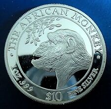 "SOMALIA: 1998 $10, ""Monkey"", 1 troy ounce .999 silver proof, capsule - top grade"