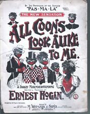 All Coons Look Alike To Me 1896 Large Format Sheet Music