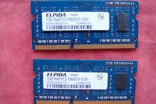 Lot of 2 Elpida 1GB PC3-10600S DDR3 RAM SODIMM laptop memory; 1Rx8