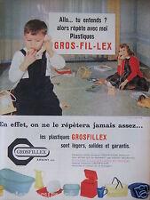 PUBLICITÉ 1959 PLASTIQUES GROSFILLEX SONT LÉGERS SOLIDES GARANTI- ADVERTISING