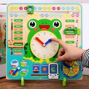 Clock Time Toys Weather Season Calendar Cognition Preschool Wooden Montessori