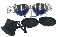 Pets On The Go Stainless Steel Folding Travel Dog Bowl Set / Dog Bowl Set Blue