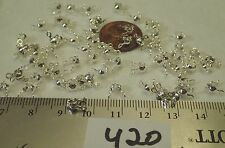 72 Vtg Rhodium Plate Bead String Clam Tip Ends Clasp Jewelry Findings Necklace