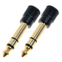 2*Stero 3.5mm Gold Jack Socket to 6.35mm Plug Headphone headset earphone Adaptor