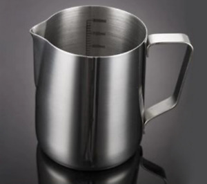 Milk Jug Frothing Foaming Coffee Pitcher Garland Cup Stainless Steel 350ml