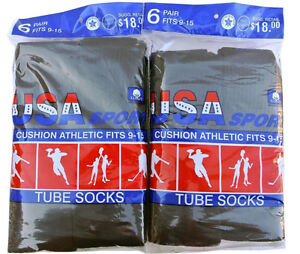 12 Pairs New BLACK  Men's Cotton Athletic Sports TUBE Socks  9-15 Made In USA