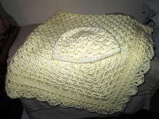Handmade Crochet Baby Blanket/Afghan Off White w/ Matching Baby Hat  New