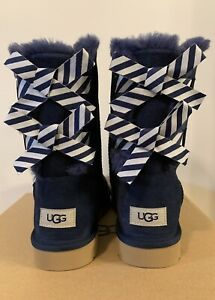 New - Women's Ugg Bailey Bow ll Diagonal Stripes Navy Boots Size 11