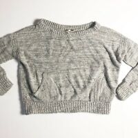 Free People In My Pocket Cropped Sweater Gray Size Small Wool Alpaca Cotton